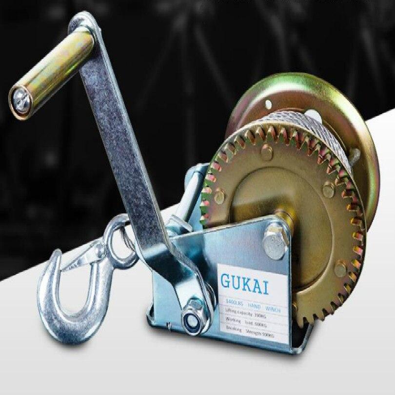 Портативная лебедка winche 800 фунтов 600 фунтов ручная лебедка с автоматическим тормозом подъемный инструмент + 10 м стальная проволока +