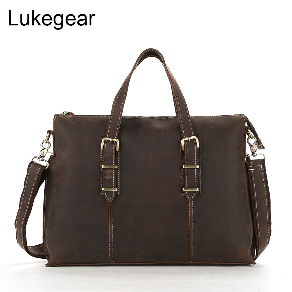 Lukegear Genuine Leather Computer Bags For Men Retro Soild Briefcase Bag Handemade With Single Strap Laptop Pack