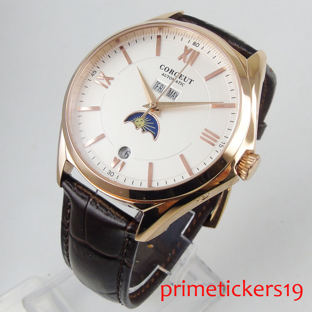 Rose golden plated case moon phase 40mm 2 colors dial week date month golden hands automatic movement mens watch leather watch