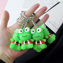 New Fashion Cute cartoon green frog keychain pendant animal shape silicone key chain backpack accessories holiday gift