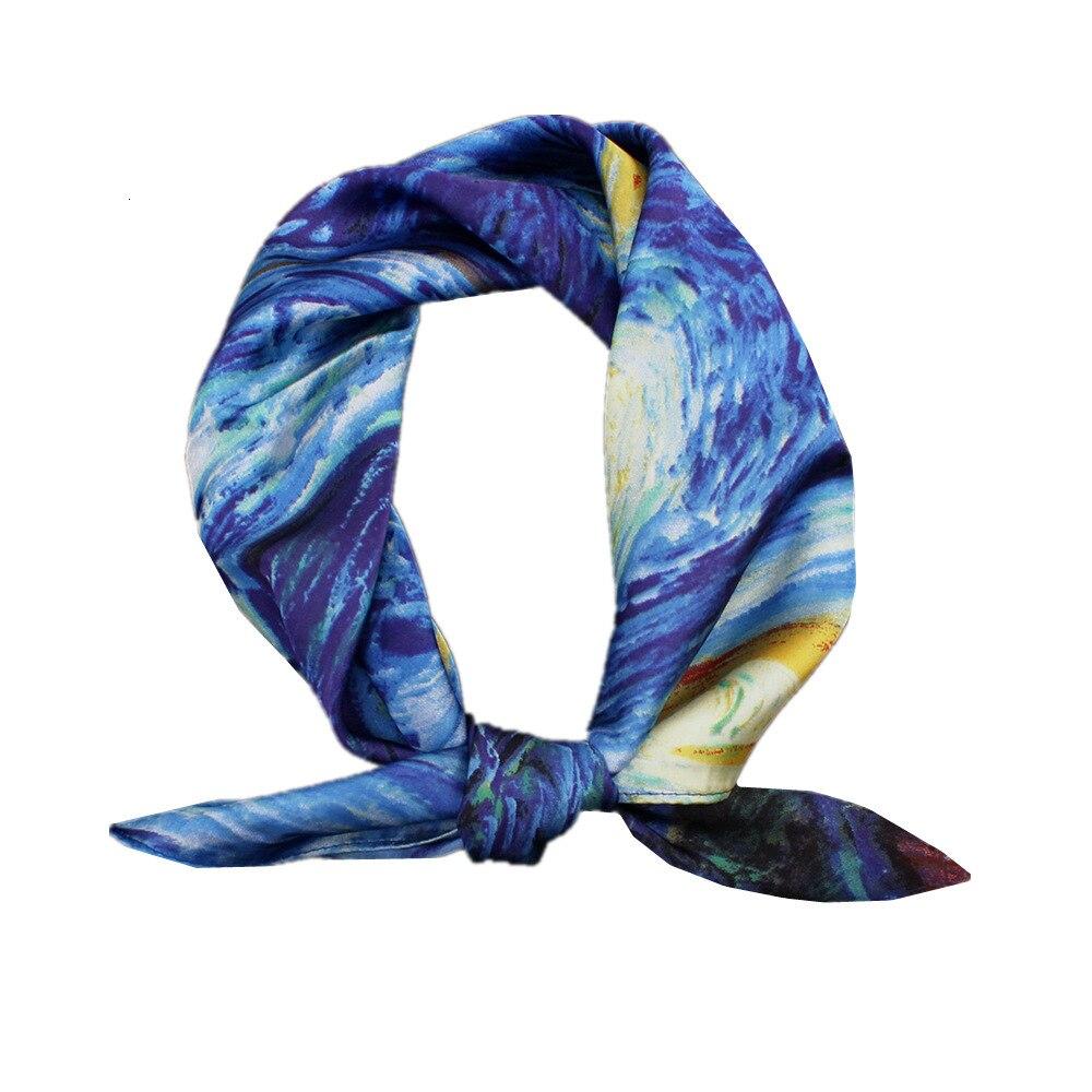 Van Gogh Oil Painting Silk Touch Square Handkerchief Women Fashion Hair Accessories Foulard Bandana Scarf New 55cm