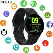 Gejian smartwatch, novo, relógio inteligente de pulso, masculino e feminino, android, à prova d àgua, esportivo, câmera remota, frequência cardíaca e pressão sanguínea