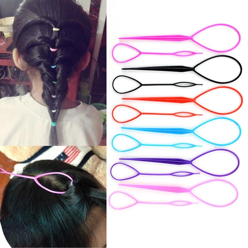 2pcs/set Hair Styling Tools 2019 New Plastic Magic Topsy Hair Tools Braids Ponytail Hair Style Snare Loop Tools Fashion