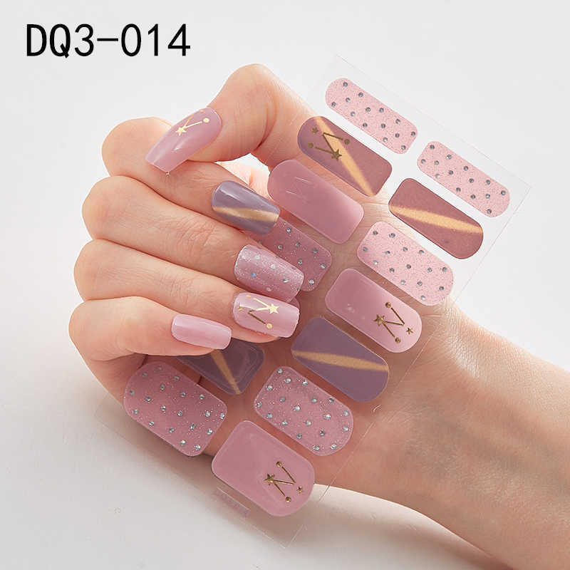1Pc Nieuwe Ontwerp Volledige Wraps Glitter Nail Art Sticker Decals Multicolor Lijm Nail Stickers Vinlys Diy Salon Manicure Drop schip