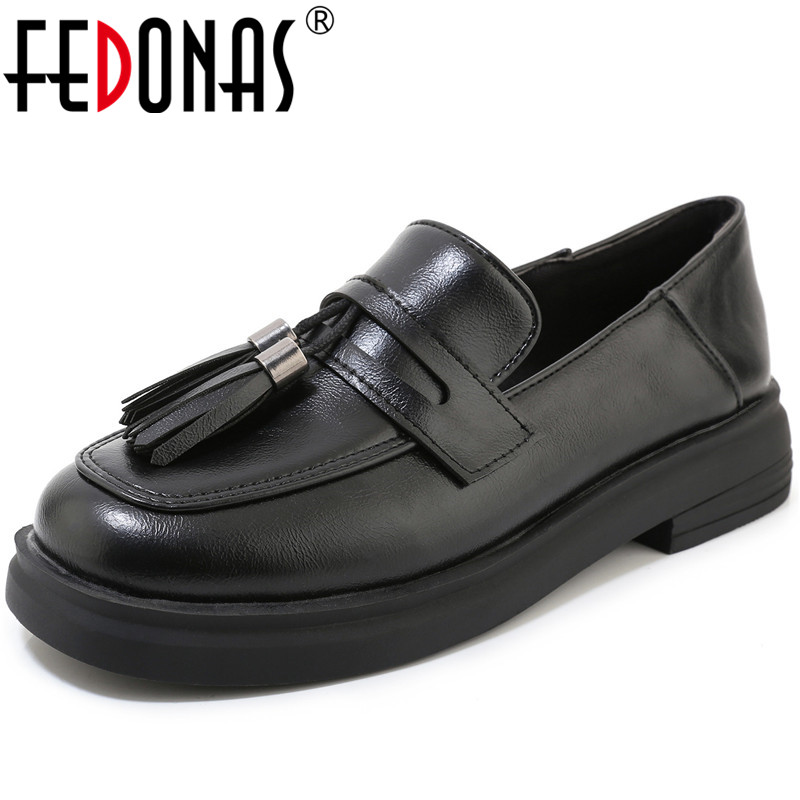 FEDONAS Women Platforms Shoes Casual Shoes Spring Autumn New Arrival  Fringe Concise Round Toe Shoes Woman