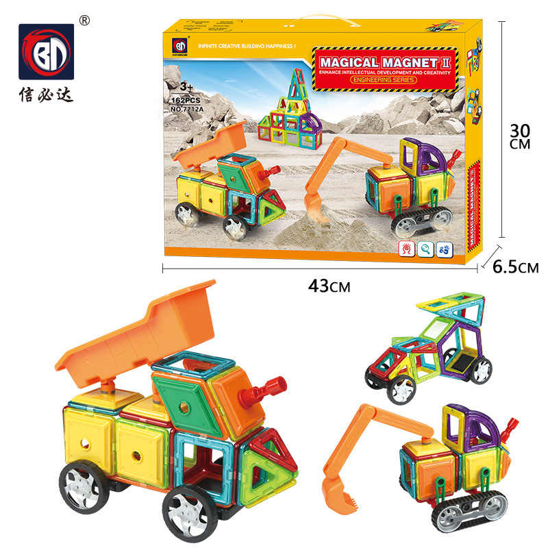 BD 7212ab Magnetic Sheet Engineering Set 162 PCs English Gift Box Export Hot Selling Children'S Educational Toy