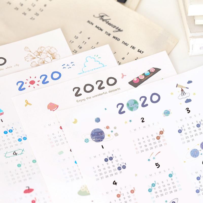 3Pcs/Set 2020 Sulfuric Acid Paper Calendar Sticker Notebook Index Label Stickers DIY Schedule Planner 2020.01~2020.12