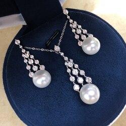 Оптовая продажа, серебро 925 пробы, натуральный 10-12 мм, Пресноводный Жемчуг, модный костюм, ювелирный набор для девочек, рождественский подаро...