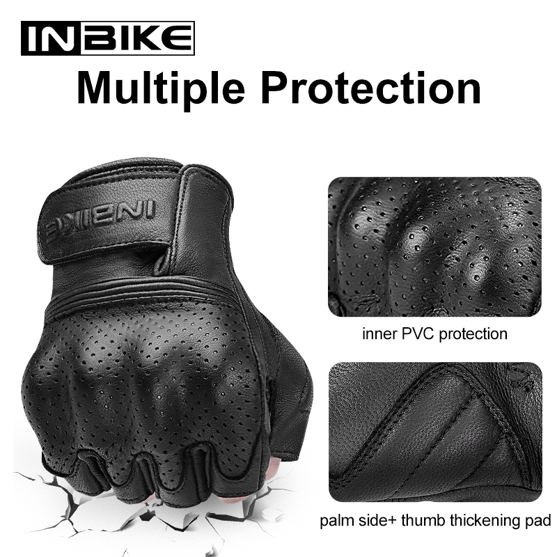 INBIKE Goat Leather Motorcycle Gloves Protective Gears Motocross Accessories 2021 Summer Men Half Finger Riding Motorbike Gloves