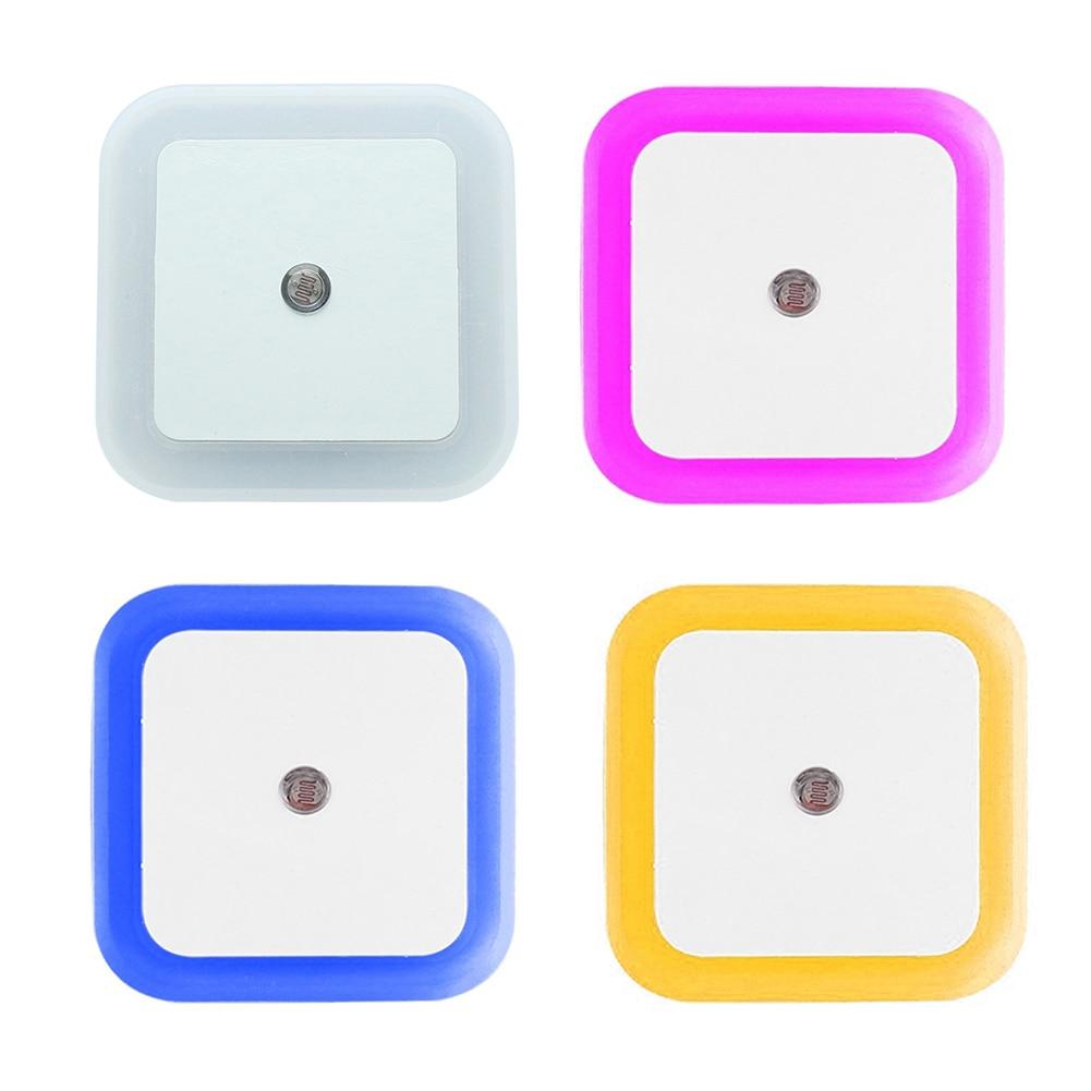 US EU Plug Light Sensor Control Night Light Mini EU US Plug Novelty Square Bedroom Lamp For Baby Gift Romantic Colorful Lights