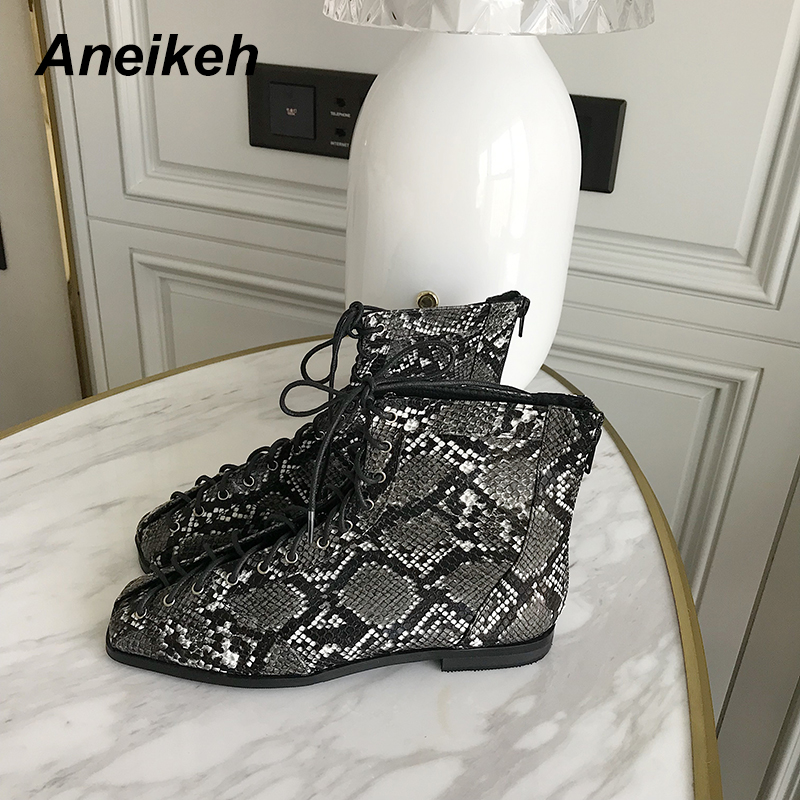 Image 3 - Aneikeh Women Zipper Boots Snake Print Ankle Boots For Women Flat Casual Shoes Lace Up Female Boots Party Shoes zapatos mujer-in Ankle Boots from Shoes