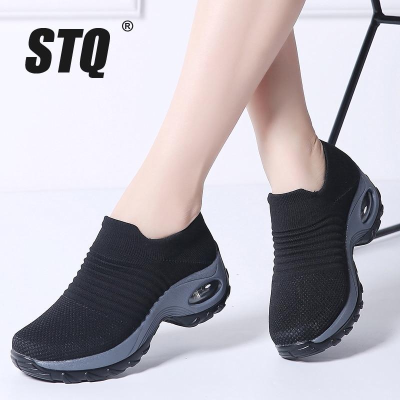 STQ 2019 Autumn Women Sneakers Shoes Flat Slip On Platform Sneakers For Women Black Breathable Mesh Sock Sneakers Shoes 1839