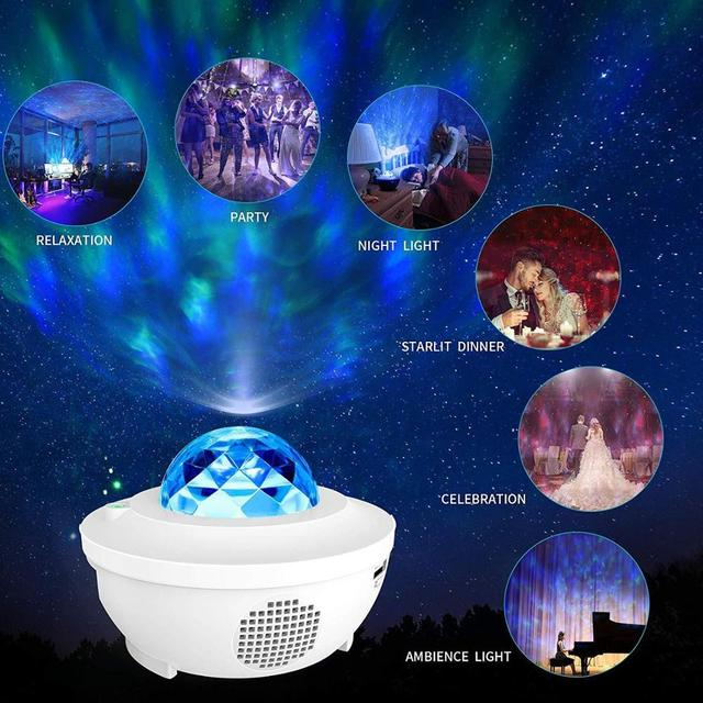 Colorful Starry Sky Projector Blueteeth USB Voice Control Music Player LED Night Light Romantic Projection Lamp Birthday Gift 2
