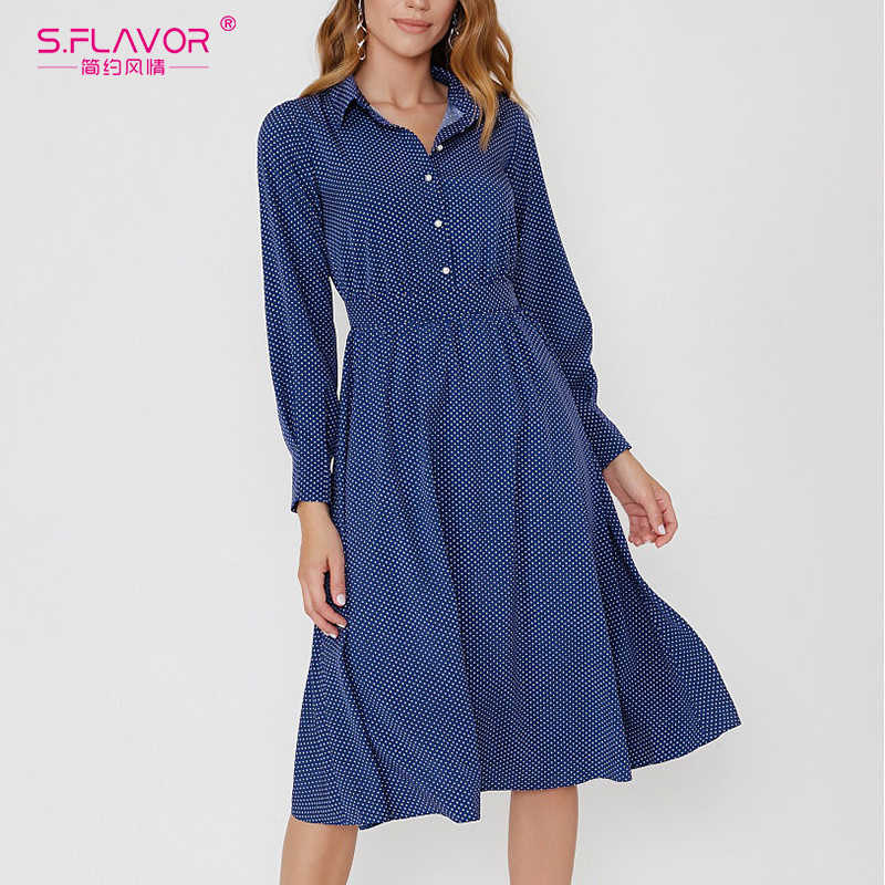 S.FLAVOR Women Elegant Office Polka Dot Print Dress Button Turn Down Collar Long Sleeve Casual Dress Party Dresses Autumn Winter