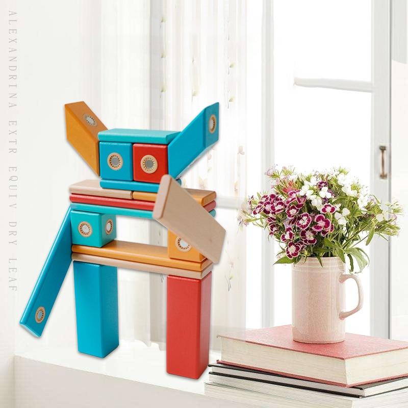 Children's Magnetic Building Blocks Toys Diy Wooden Magnetic Tablets Building Blocks Children's Preschool Education Toys Gifts