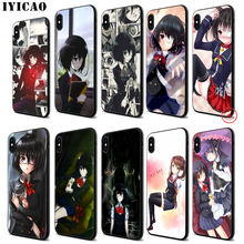 IYICAO Mei misaki Soft Black Silicone Case for iPhone 11 Pro Xr Xs Max X or 10 8 7 6 6S Plus 5 5S SE