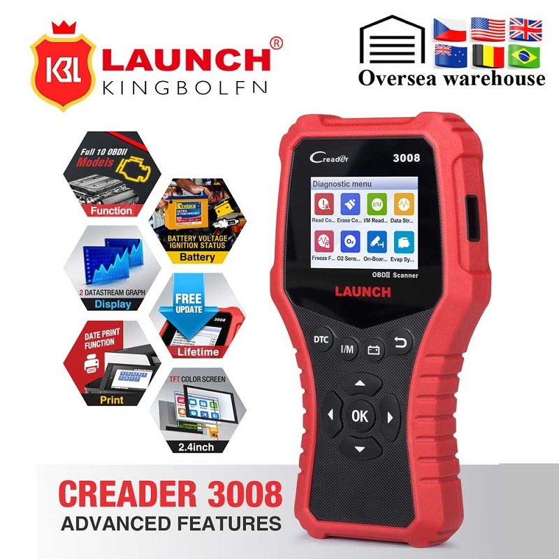 LAUNCH Creader CR3008 Auto OBD2 EOBD Car Engine Fault Code Reader Scanner PK NT301 AD410 Car OBDII Engine ERROR Code Reader