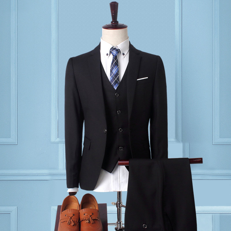 Suit Men's Korean-style Slim Fit Suit Business Formal Wear Business Work With Groom Marriage Ceremony