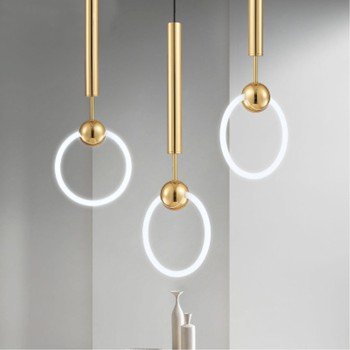 Nordic Art LED Loft Creative Concise Style Dining Room Pendant Light Gold Ring Cafe Restaurant Decoration Light Free Shipping