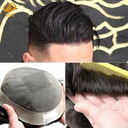 SSH Feine Mono männer Toupet Poly Remy Menschenhaar Perücken Geschweißte Mono Haarteile Langlebig