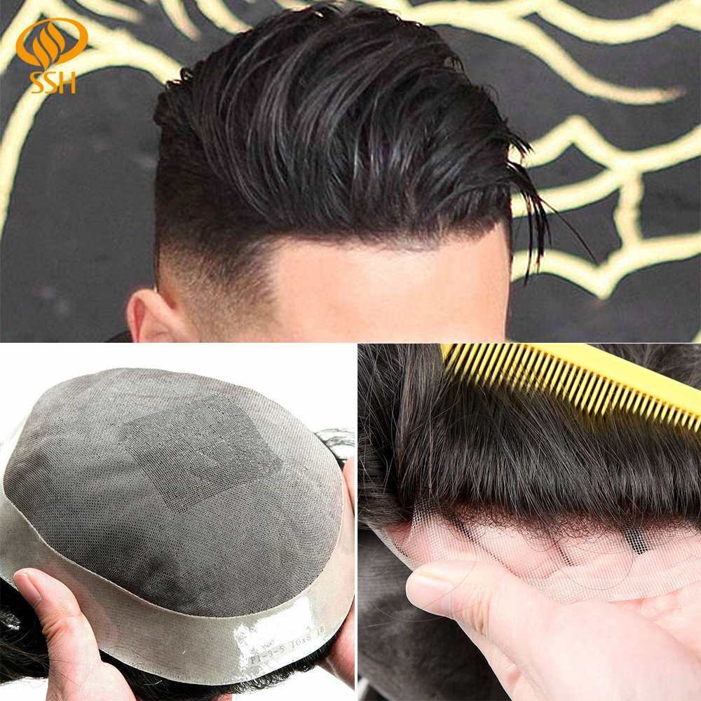SSH Fine Mono Men's Toupee Poly Remy Human Hair Wigs Welded Mono Hairpieces Durable