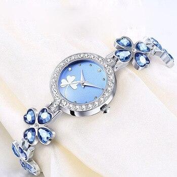 1PCs Four-leaf Clover Luxury Women's Fashion Quartz Watch Rhinestone Bracelet Watch Bracelet Ladies Gifts Dress Wristwatches