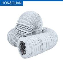 Hon&Guan 4~8 Aluminium Flexible Fan Ducting Exhaust Pipe for Extractor Fan, Domestic Ventilation; White Hose, 5M / 10M