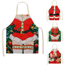 Festive Christmas Kitchen Aprons for Xmas Decoration Adults Kids Women Men Dinner Party Cooking Apron Baking Accessories