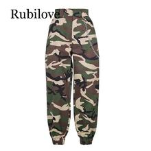 Rubilove 2019 Fashion Chain Military Camouflage pants women Army black high waist loose Camo Pants Trousers Street Jogger sweatp