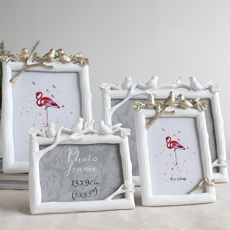 רטרו שרף 3D ציפור תמונה מסגרת Creative בציר ציפורים עץ תמונה חתונה חדר שינה שולחן העבודה דקור קישוטי מתנה מלבן מסגרת