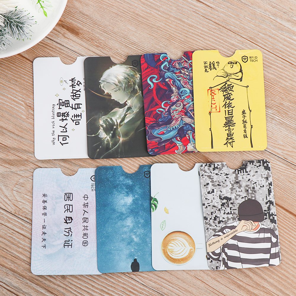 4Pcs Cute RFID Anti-degaussing Bank Card Holder ID Card Case Bus Card Cover Fashion Aluminum Foil Bag Anti-theft Card Protector