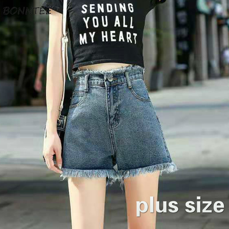 Shorts Women Plus Size Denim Fur-line High Waist Korean Style Casual Chic New Fashion Students Streetwear Vintage Womens Leisure