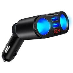 Ładowarka samochodowa usb szybkie ładowanie 3.0 zapalniczka samochodowa led dual usb wyświetlacz samochodowy ładowarka samochodowa do tablet/telefon kabel do szybkiego ładowania -
