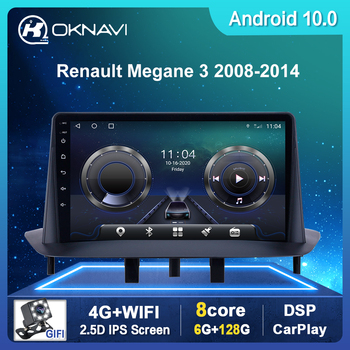 Android 10 Car radio For Renault Megane 3 2008-2014 GPS Navigation 2 Din 9 inch Stereo With DSP Carplay 4G BT WIFI No DVD Player image