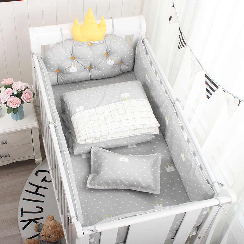 5Pcs Nordic Kroon Kussen Cot Bumpers Baby Bed Beddengoed Kit Baby Beddengoed Katoen Afneembare Wasbare Baby Wieg Side Protector set