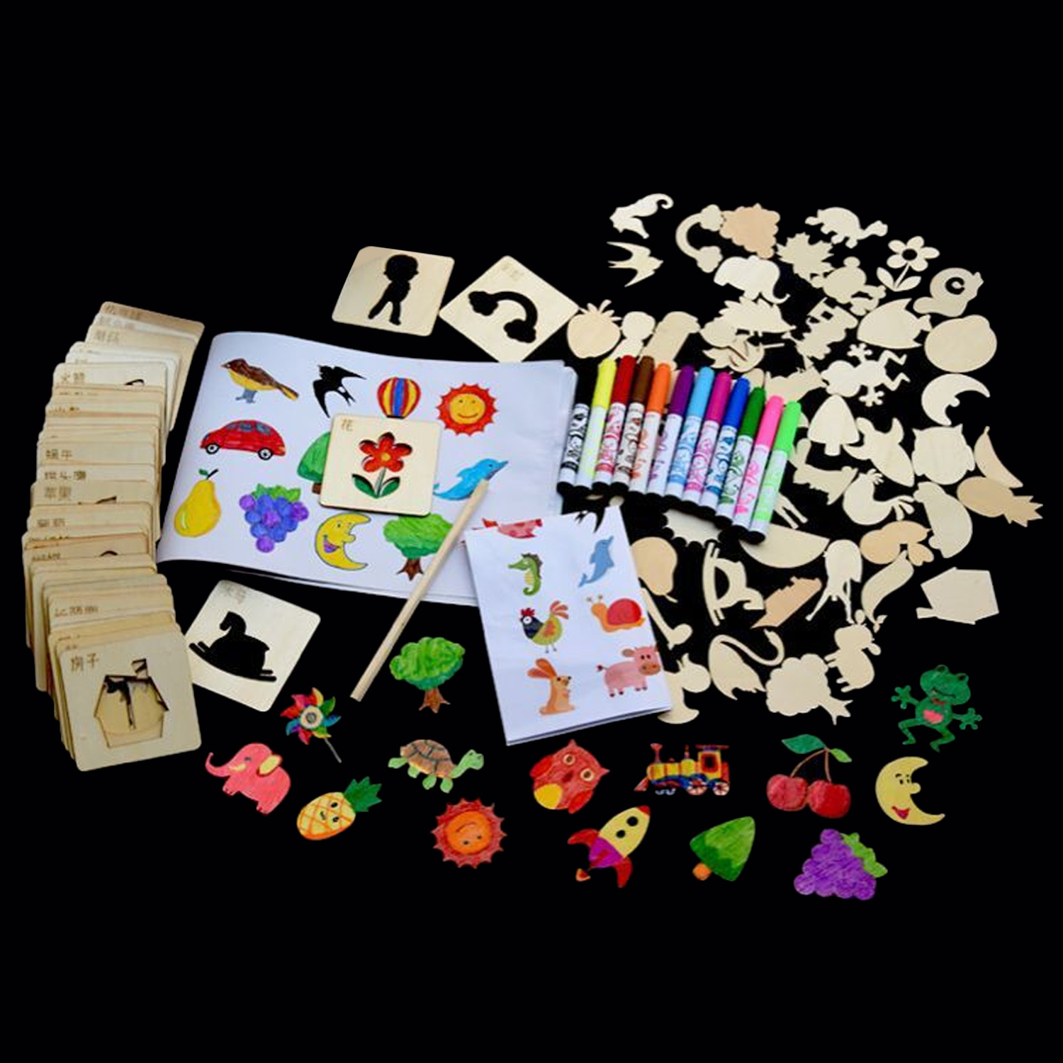 120Pcs Painting Colorful Stencil Kit Set With Brush Wood Chip Stencils Reference Drawing Pencil  School Random Pattern Gift Toys