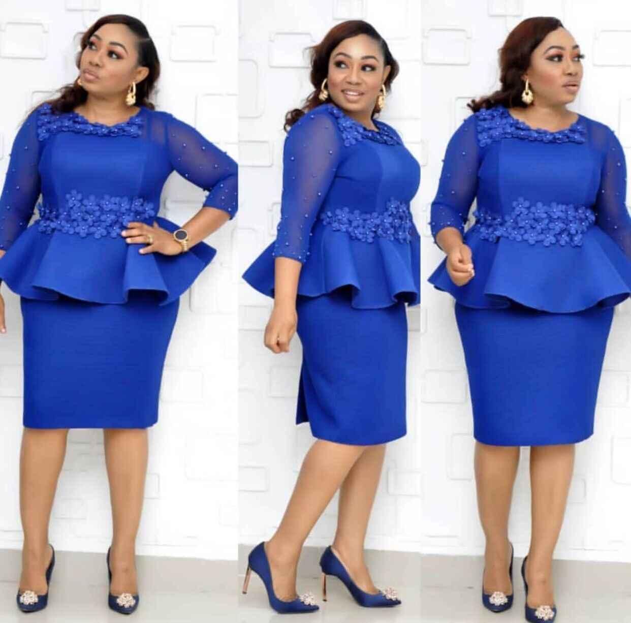 2019 nuovo stile di modo di autunno donne africane di bellezza più il formato al ginocchio-lunghezza del vestito L-3XL