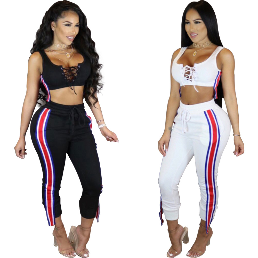 Hot Selling WOMEN'S Dress Europe And America Sports Leisure Suit Sexy Lace-up Vest And Capri Pants Two-Piece Set