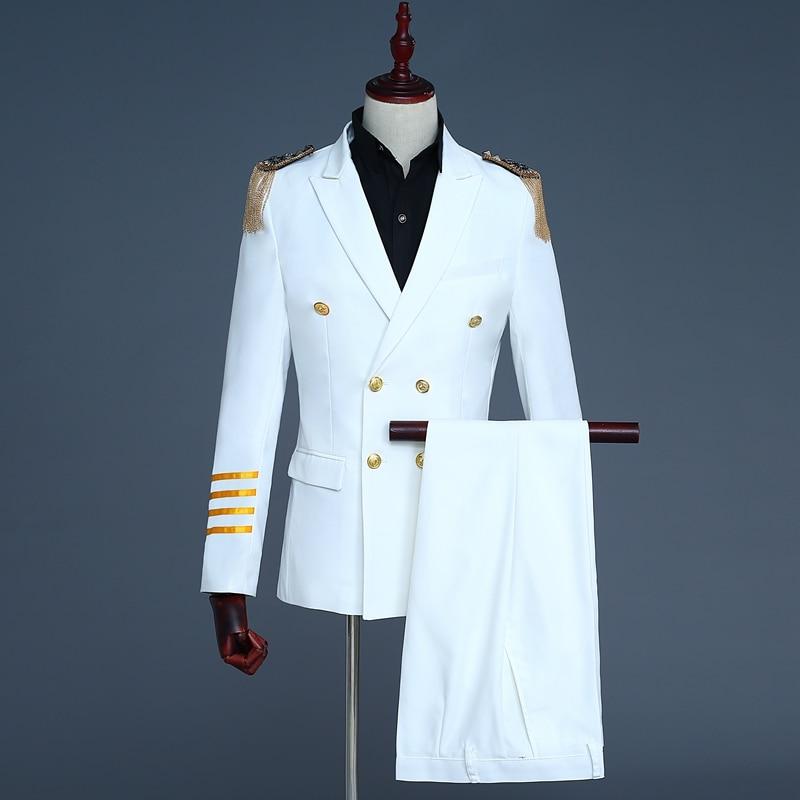 Деловые костюмы капитана для мужчин, выступления, пение, вечеринки, свадьбы, повседневная одежда - Цвет: As Picture