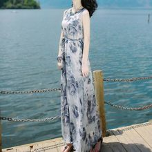 Dress Women Fashion Summer Bandage Long Sundress Mid-calf Sleeveless Beach Printing Elegant Maxi Dress Vestidos #d7(China)
