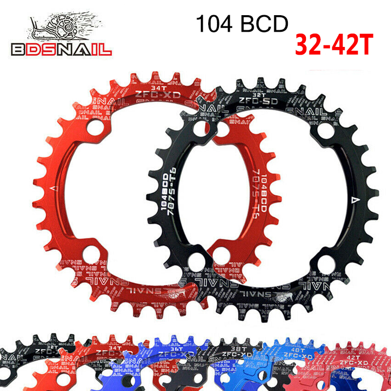 104bcd MTB Road Bike Round Oval Narrow Wide Chainring 32-42t Single Chain ring