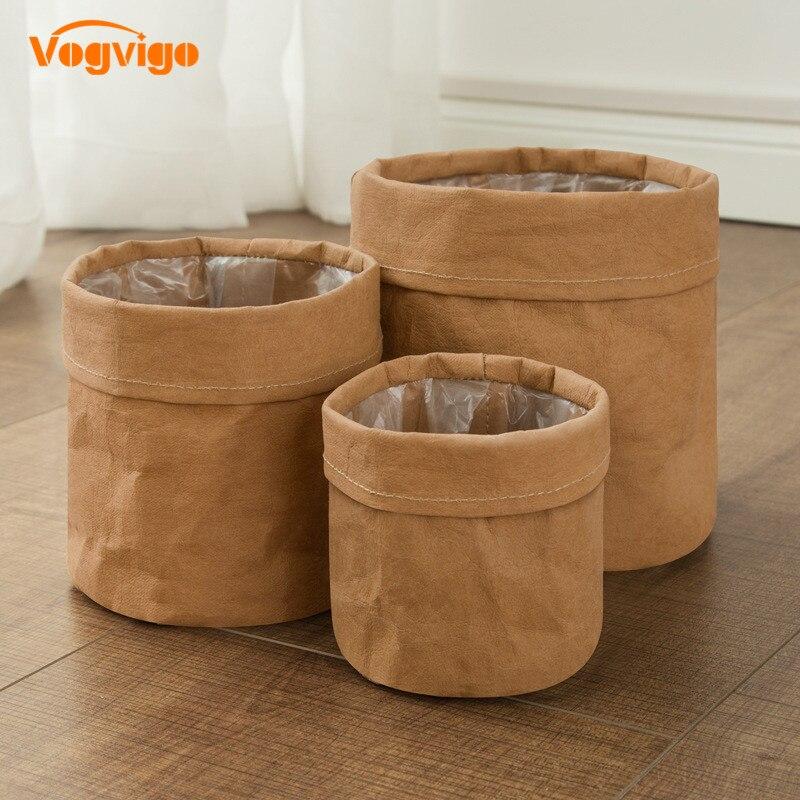 VOGVIGO Waterproof Eco-friendly Kraft Paper Flower Pot Holder Reuseable Plant Pot Drouble Multifunction Desktop Home Storage Bag