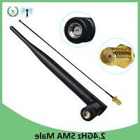 2 шт 2,4 ГГц антенна wifi 5dBi SMA Male 2,4 ГГц антенна для маршрутизатора Wi fi усилитель + 21 см RP-SMA ufl./IPX 1,13 Кабель