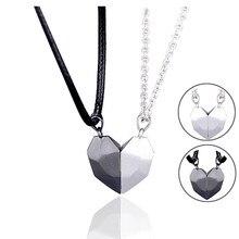 Collar magnético de 2 uds. Para parejas, colgante de corazón para amantes, distancia, facetado amuleto, regalo de San Valentín para mujer 2021