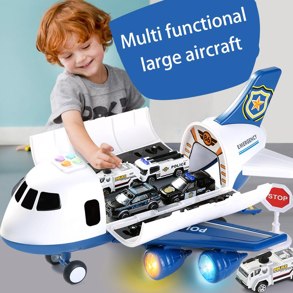 Simulation Music LED Inertia Powered Cabin Openable Storage Aircraft Mini Car Kids Storytelling Toy With Car/Traffic Sign Model