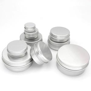 Image 2 - 100PCS 5g 10g 15g 20g 30g 40g 50g 60g Lattina di Alluminio vasi In Metallo 50ml Vuoto Cosmetici Viso Crema Cura Degli Occhi Balsamo per le labbra Gloss Packaging