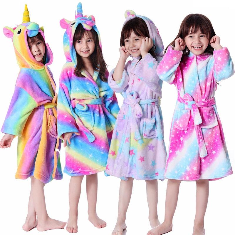 Vanbuy Boys Girls Animal Hooded Robe Fleece Bathrobe Toddler Kids Halloween Costume