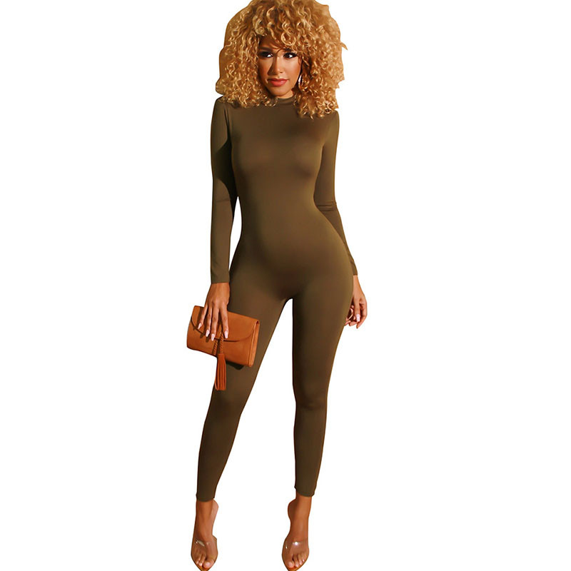 Solid One Piece Rompers Womens Jumpsuit Sexy Front Zip Turtleneck Slim Skinny Bodycon Jumpsuit Casual Fitness Bodysuit Catsuit