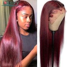 Perruque Lace Front Wig naturelle péruvienne Remy, cheveux lisses, bordeaux, rouge, Transparent, pour femmes