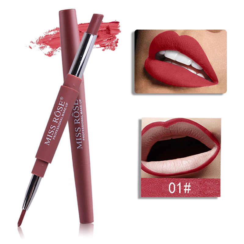 MISS ROSE Most Popular Color Number 01#-06# 2 In 1 Lip Liner Pencil Lipstick Makeup Waterproof Lipliner Pen Makeup Set TSLM2